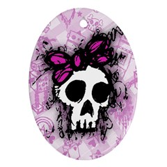 Sketched Skull Princess Oval Ornament (two Sides) by ArtistRoseanneJones