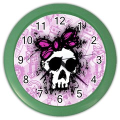 Sketched Skull Princess Wall Clock (color) by ArtistRoseanneJones