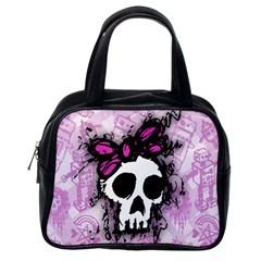 Sketched Skull Princess Classic Handbag (one Side) by ArtistRoseanneJones