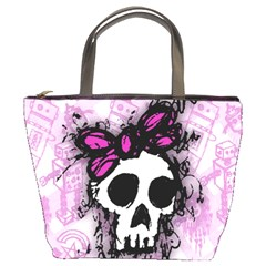Sketched Skull Princess Bucket Handbag by ArtistRoseanneJones