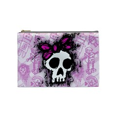 Sketched Skull Princess Cosmetic Bag (medium) by ArtistRoseanneJones