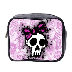 Sketched Skull Princess Mini Travel Toiletry Bag (two Sides) by ArtistRoseanneJones