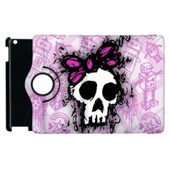 Sketched Skull Princess Apple Ipad 3/4 Flip 360 Case by ArtistRoseanneJones