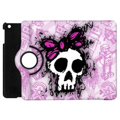 Sketched Skull Princess Apple Ipad Mini Flip 360 Case by ArtistRoseanneJones
