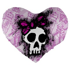 Sketched Skull Princess Large 19  Premium Heart Shape Cushion by ArtistRoseanneJones