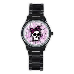 Sketched Skull Princess Sport Metal Watch (black) by ArtistRoseanneJones
