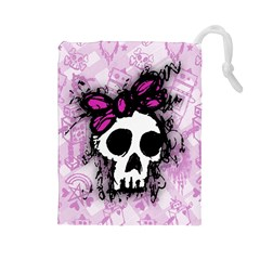 Sketched Skull Princess Drawstring Pouch (large) by ArtistRoseanneJones
