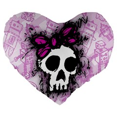 Sketched Skull Princess Large 19  Premium Flano Heart Shape Cushion by ArtistRoseanneJones