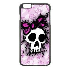 Sketched Skull Princess Apple Iphone 6 Plus Black Enamel Case by ArtistRoseanneJones