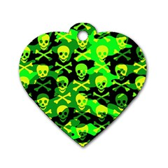 Skull Camouflage Dog Tag Heart (two Sided) by ArtistRoseanneJones