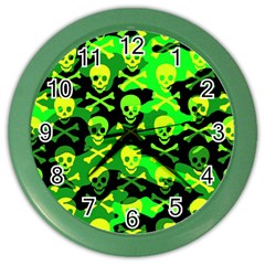 Skull Camouflage Wall Clock (color) by ArtistRoseanneJones