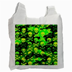 Skull Camouflage White Reusable Bag (two Sides) by ArtistRoseanneJones