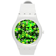 Skull Camouflage Plastic Sport Watch (medium) by ArtistRoseanneJones