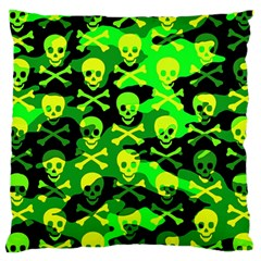 Skull Camouflage Large Flano Cushion Case (two Sides) by ArtistRoseanneJones