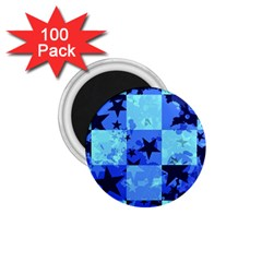 Blue Star Checkers 1 75  Button Magnet (100 Pack) by ArtistRoseanneJones