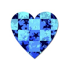 Blue Star Checkers Magnet (heart) by ArtistRoseanneJones
