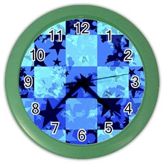 Blue Star Checkers Wall Clock (Color) by ArtistRoseanneJones