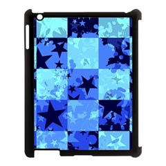 Blue Star Checkers Apple Ipad 3/4 Case (black) by ArtistRoseanneJones
