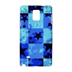 Blue Star Checkers Samsung Galaxy Note 4 Hardshell Case by ArtistRoseanneJones