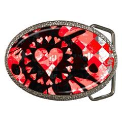 Love Heart Splatter Belt Buckle (Oval) by ArtistRoseanneJones