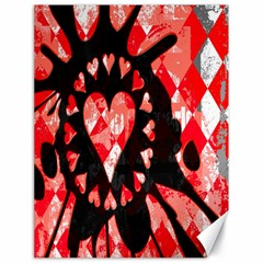 Love Heart Splatter Canvas 18  X 24  (unframed) by ArtistRoseanneJones