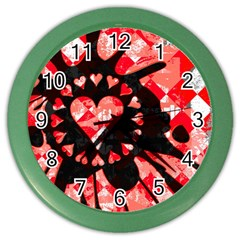 Love Heart Splatter Wall Clock (color) by ArtistRoseanneJones