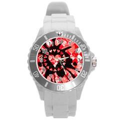 Love Heart Splatter Plastic Sport Watch (large) by ArtistRoseanneJones