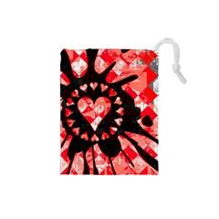Love Heart Splatter Drawstring Pouch (Small) by ArtistRoseanneJones