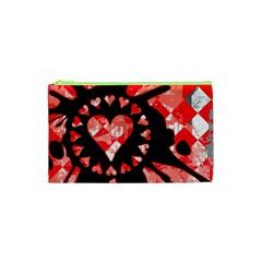 Love Heart Splatter Cosmetic Bag (xs) by ArtistRoseanneJones