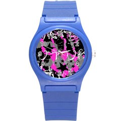 Pink Scene Kid Plastic Sport Watch (small) by ArtistRoseanneJones