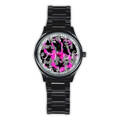 Pink Scene Kid Sport Metal Watch (black) by ArtistRoseanneJones