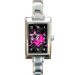 Pink Star Graphic Rectangular Italian Charm Watch by ArtistRoseanneJones