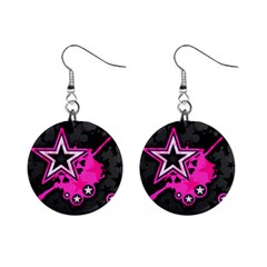 Pink Star Graphic Mini Button Earrings by ArtistRoseanneJones