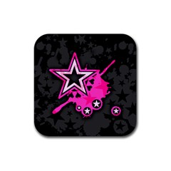 Pink Star Graphic Drink Coaster (square) by ArtistRoseanneJones