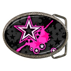 Pink Star Graphic Belt Buckle (oval) by ArtistRoseanneJones