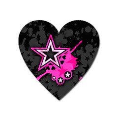Pink Star Graphic Magnet (heart) by ArtistRoseanneJones