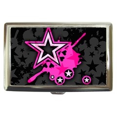 Pink Star Graphic Cigarette Money Case by ArtistRoseanneJones
