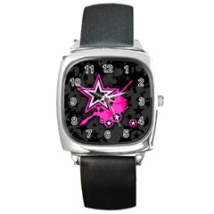 Pink Star Graphic Square Leather Watch by ArtistRoseanneJones
