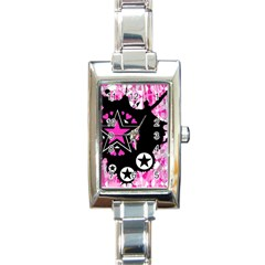 Pink Star Splatter Rectangular Italian Charm Watch by ArtistRoseanneJones