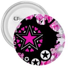 Pink Star Splatter 3  Button by ArtistRoseanneJones