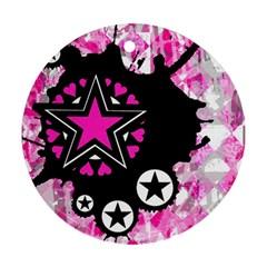 Pink Star Splatter Round Ornament by ArtistRoseanneJones