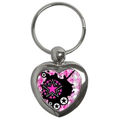Pink Star Splatter Key Chain (heart) by ArtistRoseanneJones