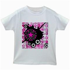 Pink Star Splatter Kids T Shirt (white) by ArtistRoseanneJones