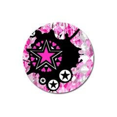 Pink Star Splatter Magnet 3  (round) by ArtistRoseanneJones