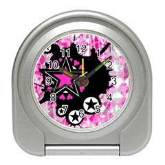 Pink Star Splatter Desk Alarm Clock by ArtistRoseanneJones