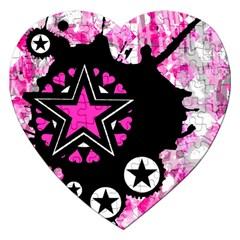 Pink Star Splatter Jigsaw Puzzle (heart) by ArtistRoseanneJones