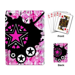 Pink Star Splatter Playing Cards Single Design by ArtistRoseanneJones