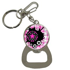Pink Star Splatter Bottle Opener Key Chain by ArtistRoseanneJones