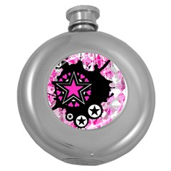 Pink Star Splatter Hip Flask (round) by ArtistRoseanneJones