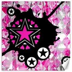 Pink Star Splatter Canvas 12  X 12  (unframed) by ArtistRoseanneJones